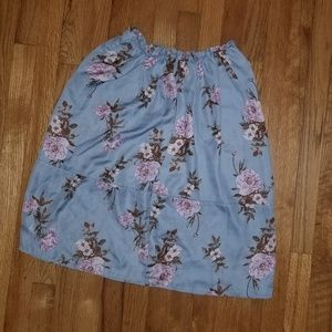 Say What?  Blue Floral skirt